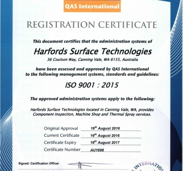 Harfords ISO 9001: 2015